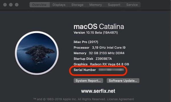 MacOS Catelina - Mac seri numarası nerede yazıyor?