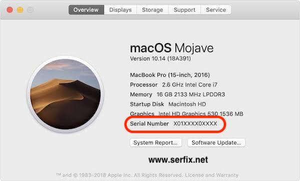 MacOS Mojave - Mac seri numarasını bulma