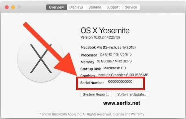 MacOS Yosemite - Mac seri numarası nerede yazıyor?